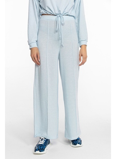 Tiffany&Tomato Batik Desenli Önden Dikişli Bol Paçalı Yün Pantolon-Siyah Mavi